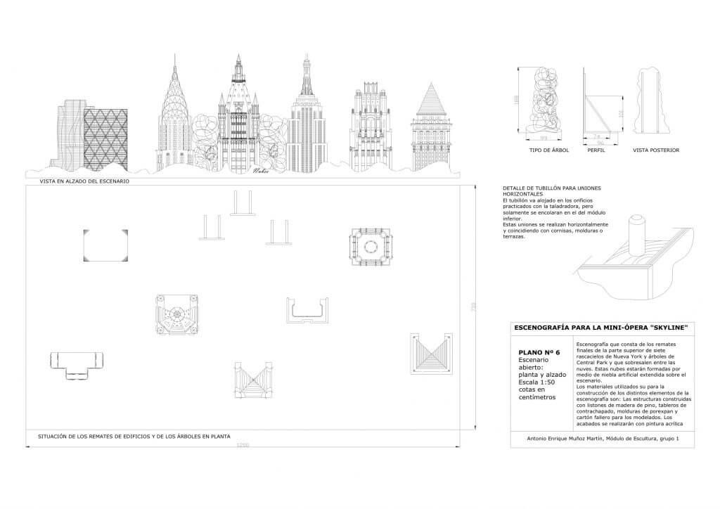 Skyline, proyecto de miniópera - diseño de escenario abierto, de Antonio Muñoz
