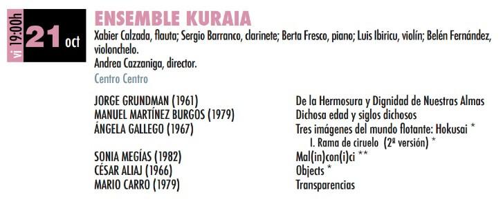 2016'X'21. Mal(in)con(i)ci por el ensemble Kuraia de Bilbao