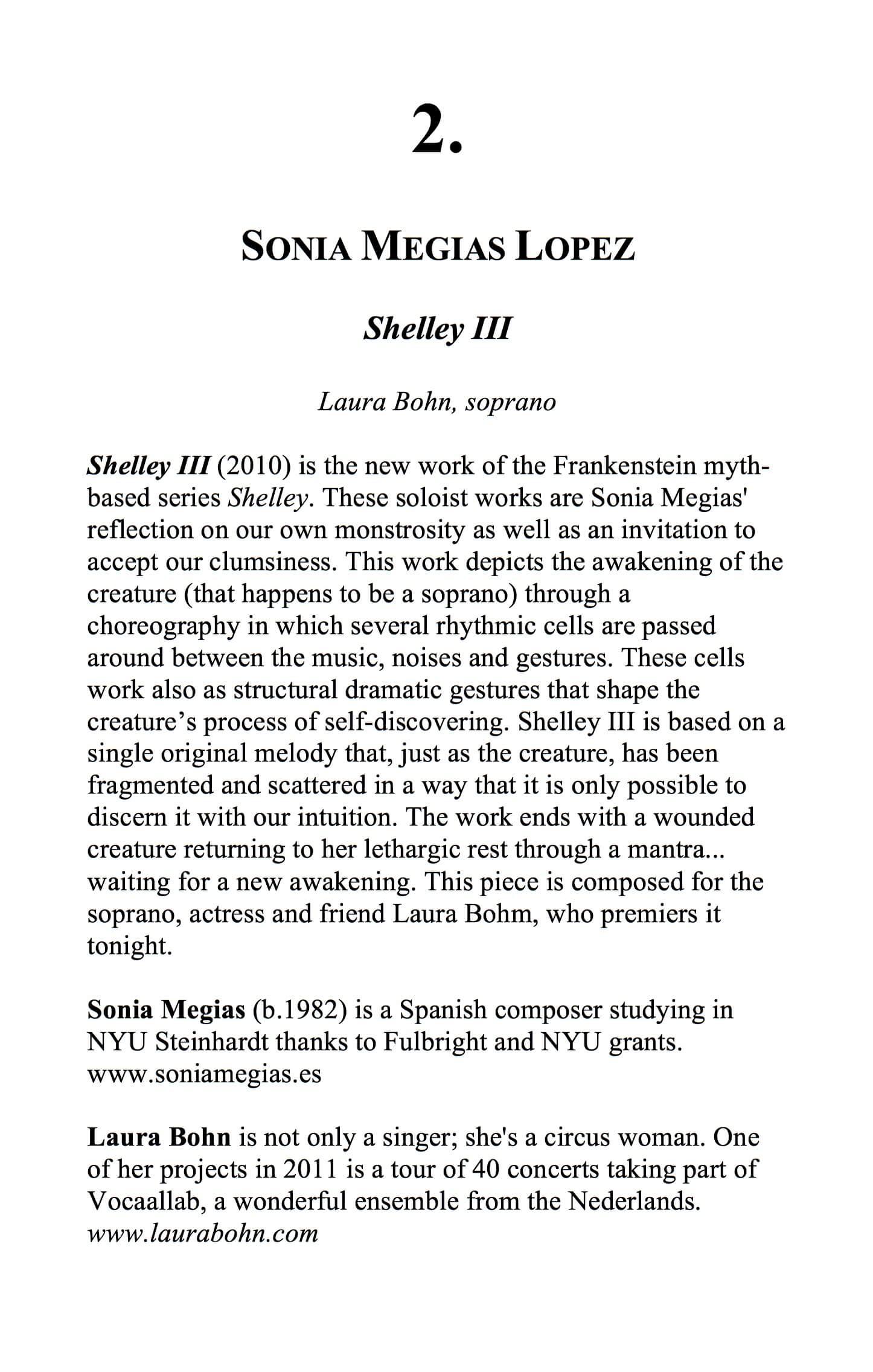 2010'XII'13. NYU. Estreno de Shelley III - Notas al programa